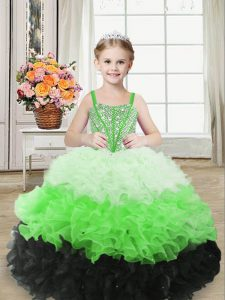 Floor Length Lace Up Child Pageant Dress Multi-color for Sweet 16 and Quinceanera with Beading and Ruffles