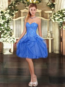 Glorious Mini Length Ball Gowns Sleeveless Blue Homecoming Dress Lace Up