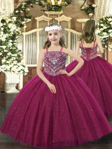 Lovely Floor Length Lace Up Pageant Dress Wholesale Fuchsia for Party and Quinceanera with Beading