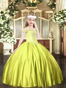 Yellow Green Sleeveless Floor Length Beading Lace Up Pageant Dress Womens