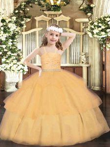 Straps Sleeveless Organza Little Girls Pageant Gowns Beading and Lace and Ruffled Layers Zipper