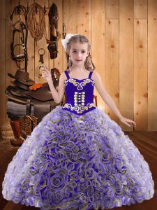 Ball Gowns Girls Pageant Dresses Multi-color Straps Fabric With Rolling Flowers Sleeveless Floor Length Lace Up