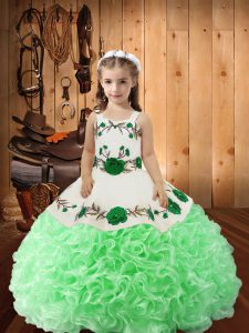 Fashion Green Lace Up Little Girls Pageant Dress Embroidery and Ruffles Sleeveless Floor Length