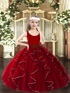 Floor Length Wine Red Winning Pageant Gowns Organza Sleeveless Beading and Ruffles