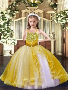 Ball Gowns Little Girls Pageant Dress Wholesale Gold Straps Tulle Sleeveless Floor Length Lace Up