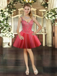 Wonderful Ball Gowns Prom Evening Gown Coral Red V-neck Tulle Sleeveless Mini Length Lace Up