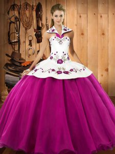 Wonderful Fuchsia Sleeveless Floor Length Embroidery Lace Up Sweet 16 Dress