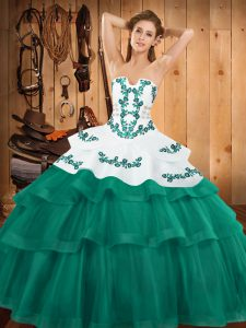 Elegant Turquoise Strapless Lace Up Embroidery and Ruffled Layers Quinceanera Gown Sweep Train Sleeveless