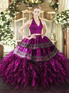 Fuchsia Two Pieces Halter Top Sleeveless Organza Floor Length Zipper Appliques and Ruffles Ball Gown Prom Dress