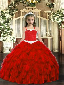 Wine Red Lace Up Straps Appliques and Ruffles Child Pageant Dress Organza Sleeveless