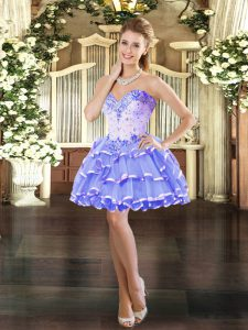 Stylish Mini Length Ball Gowns Sleeveless Lavender Prom Party Dress Lace Up