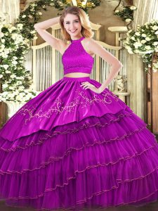 Extravagant Fuchsia Organza Backless Halter Top Sleeveless Floor Length Quinceanera Gowns Beading and Embroidery and Ruf