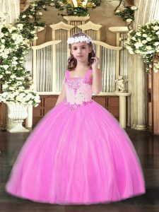 Ball Gowns Little Girls Pageant Dress Rose Pink Straps Tulle Sleeveless Floor Length Lace Up