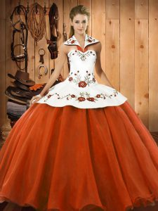 Luxurious Orange Red Lace Up Vestidos de Quinceanera Embroidery Sleeveless Floor Length