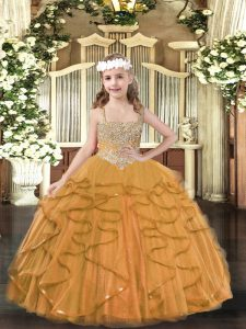 Tulle Straps Sleeveless Lace Up Beading and Ruffles Girls Pageant Dresses in Orange