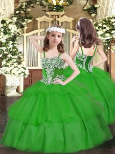 High Class Ball Gowns Kids Pageant Dress Green Straps Organza Sleeveless Floor Length Lace Up
