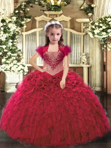 Stunning Red Straps Neckline Beading and Ruffles Little Girls Pageant Dress Sleeveless Lace Up