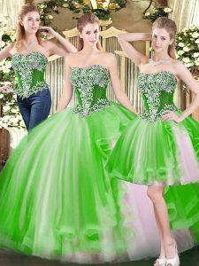Sleeveless Beading Floor Length Sweet 16 Quinceanera Dress