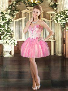 Nice Pink Sleeveless Beading and Ruffles Mini Length Prom Dresses