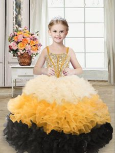 Multi-color Lace Up Straps Beading and Ruffles Kids Formal Wear Organza Sleeveless