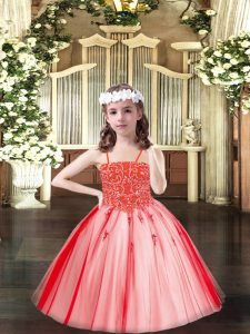 Floor Length Coral Red Little Girl Pageant Gowns Tulle Sleeveless Beading