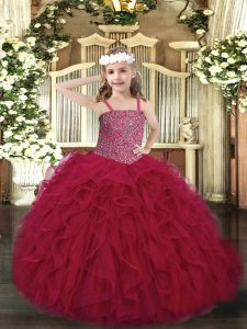 Wine Red Lace Up Pageant Gowns For Girls Beading and Ruffles Sleeveless Floor Length