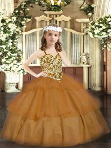 Brown Sleeveless Beading and Ruffled Layers Floor Length Custom Made Pageant Dress