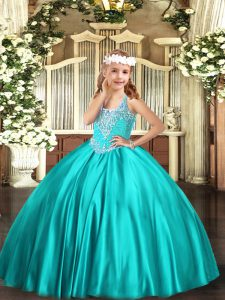 Ball Gowns Kids Pageant Dress Turquoise V-neck Satin Sleeveless Floor Length Lace Up