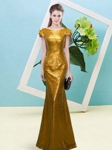 Amazing Gold Cap Sleeves Sequins Floor Length Prom Party Dress