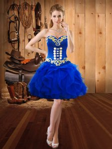 Sweetheart Sleeveless Lace Up Homecoming Dress Royal Blue Organza