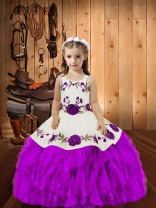 Best Straps Sleeveless Organza Pageant Dress Womens Embroidery and Ruffles Lace Up