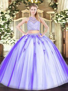 Fabulous Floor Length Lavender Quinceanera Gowns Scoop Sleeveless Zipper