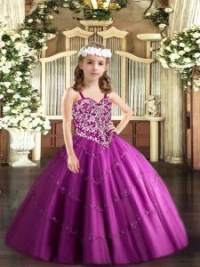 Tulle Sleeveless Floor Length Child Pageant Dress and Beading and Appliques
