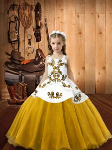 Gold Organza Lace Up Girls Pageant Dresses Sleeveless Floor Length Embroidery