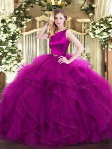 Attractive Fuchsia Scoop Neckline Ruffles Quinceanera Dresses Sleeveless Clasp Handle