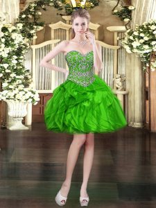 Beading and Ruffles Dress for Prom Green Lace Up Sleeveless Mini Length