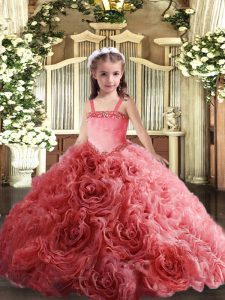 Coral Red Straps Lace Up Appliques Winning Pageant Gowns Sleeveless