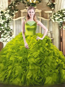 Nice Olive Green Sleeveless Floor Length Beading Side Zipper Quinceanera Gowns
