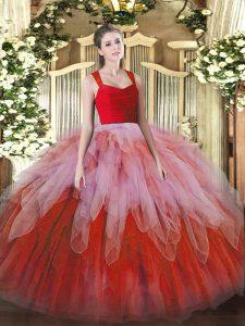 Organza Sleeveless Floor Length 15th Birthday Dress and Ruffles