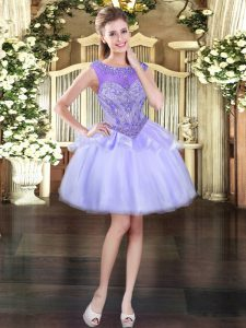 Suitable Organza Sleeveless Mini Length Homecoming Dress and Beading