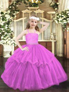 Ball Gowns Little Girls Pageant Dress Lilac Straps Organza Sleeveless Floor Length Zipper