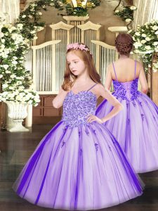 Lavender Little Girls Pageant Gowns Party and Quinceanera with Appliques Spaghetti Straps Sleeveless Lace Up