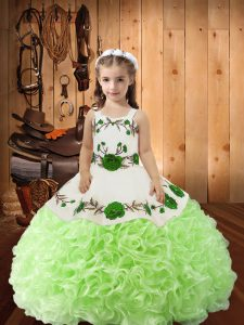 Yellow Green Straps Lace Up Embroidery and Ruffles Girls Pageant Dresses Sleeveless
