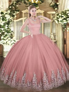 Sleeveless Tulle Floor Length Zipper 15 Quinceanera Dress in Rust Red with Appliques