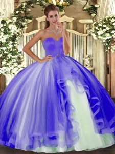 Lavender Tulle Lace Up Sweetheart Sleeveless Floor Length Vestidos de Quinceanera Beading