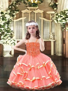 Fashionable Organza Sleeveless Floor Length Pageant Gowns and Beading and Ruffled Layers