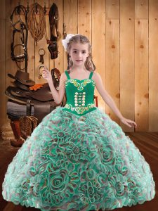 Admirable Floor Length Multi-color Child Pageant Dress Straps Sleeveless Lace Up
