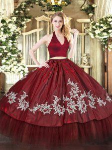 Discount Burgundy Two Pieces Taffeta Halter Top Sleeveless Appliques Floor Length Zipper Ball Gown Prom Dress
