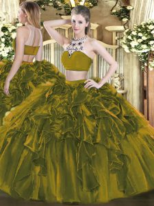 Glamorous Floor Length Olive Green 15 Quinceanera Dress Tulle Sleeveless Beading and Ruffles