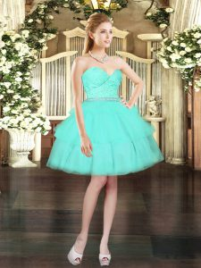 Gorgeous Aqua Blue Lace Up Prom Dresses Beading and Lace and Ruffled Layers Sleeveless Mini Length